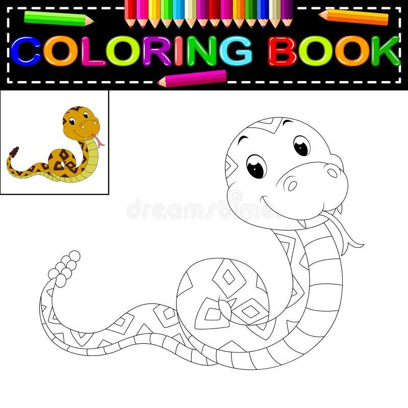 Livro para colorir da serpente ilustração royalty free