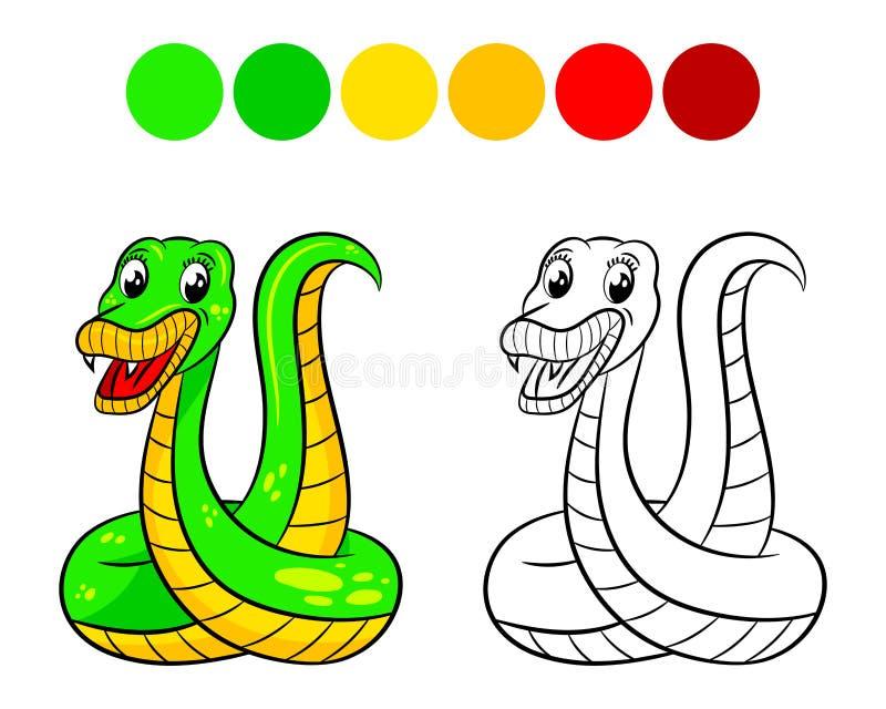 Livro para colorir da serpente ilustração stock