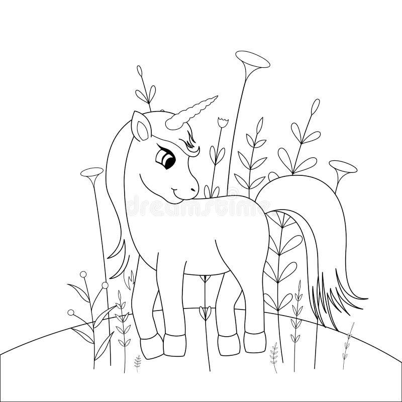 Livro para colorir das crianças s com animais dos desenhos animados Tarefas educacionais para o unicórnio bonito das crianças pré ilustração stock