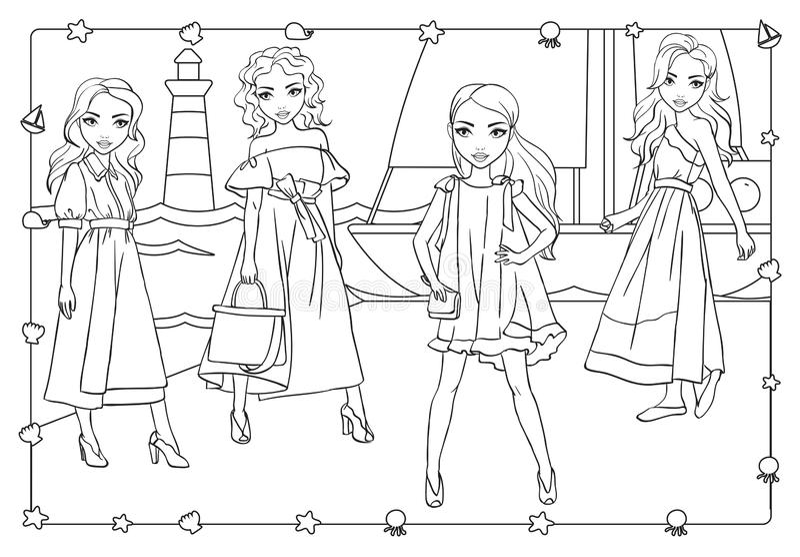 Livro para colorir das meninas em Pier Near Yacht ilustração stock