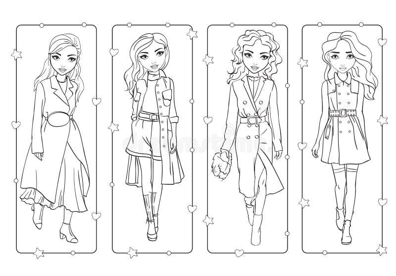 Livro para colorir das meninas em revestimentos de trincheira à moda ilustração royalty free