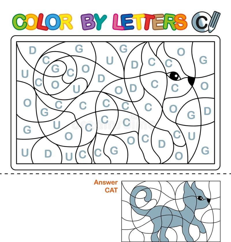 Livro para colorir de ABC para crianças Cor por letras Aprendendo as letras principais do alfabeto Enigma para crianças Letra C G ilustração royalty free
