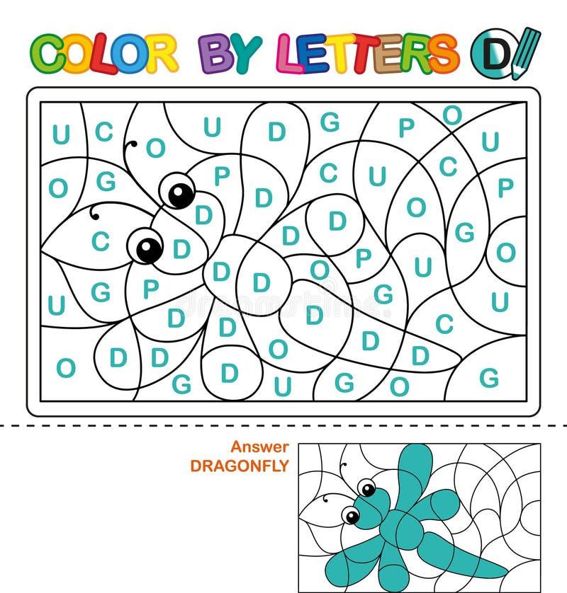 Livro para colorir de ABC para crianças Cor por letras Aprendendo as letras principais do alfabeto Enigma para crianças Letra D D ilustração royalty free