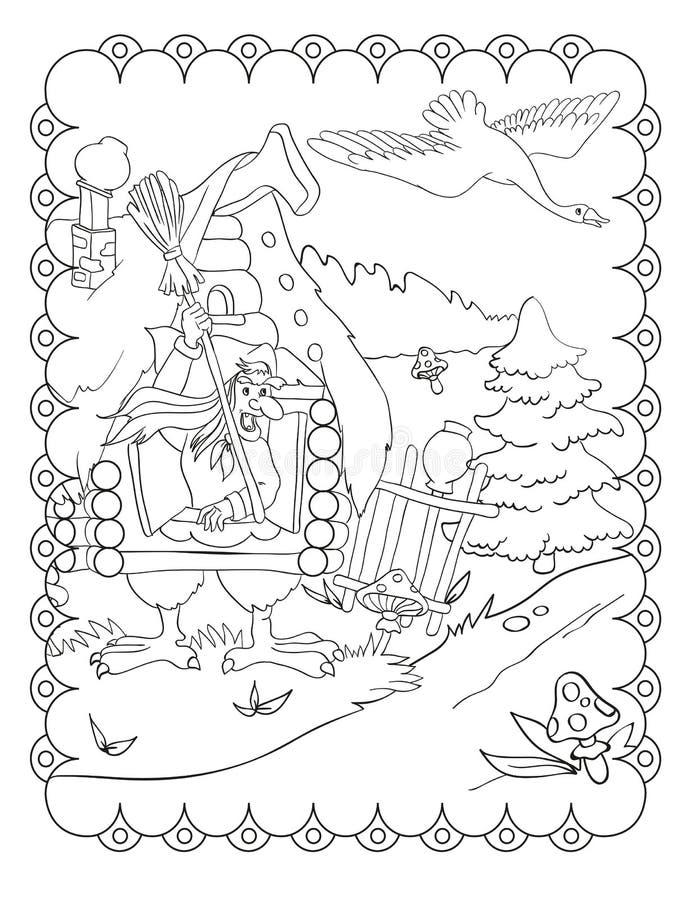 Livro para colorir de Baba Yaga And Hut ilustração do vetor