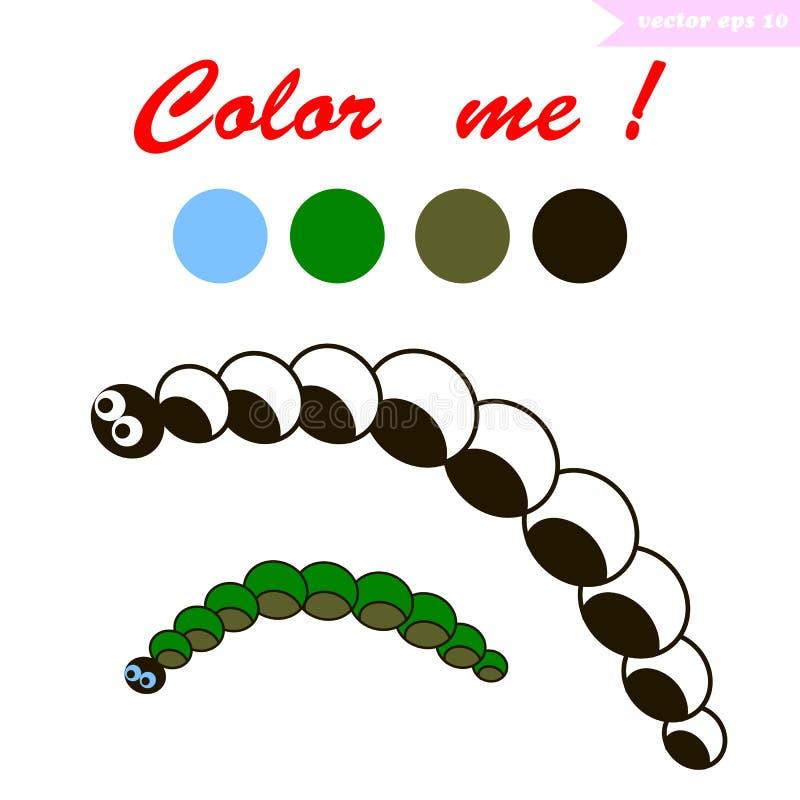 Livro para colorir de Caterpillar ilustração stock