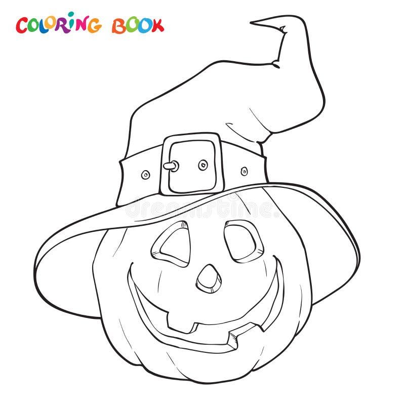 Livro para colorir de Dia das Bruxas Abóbora no chapéu ilustração stock