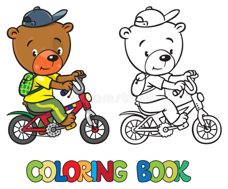 Livro para colorir de pouco urso engraçado na bicicleta ilustração royalty free
