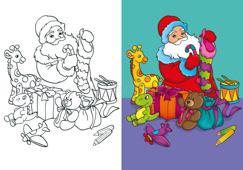 Livro para colorir de Santa Claus Packs Gifts ilustração royalty free