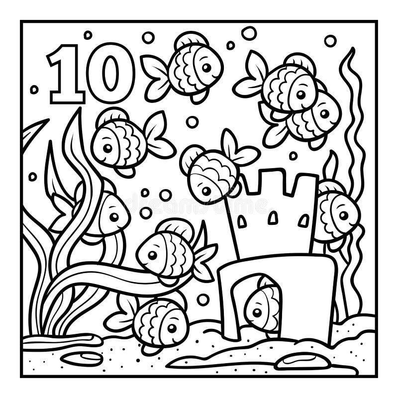 Livro para colorir, dez peixes ilustração do vetor