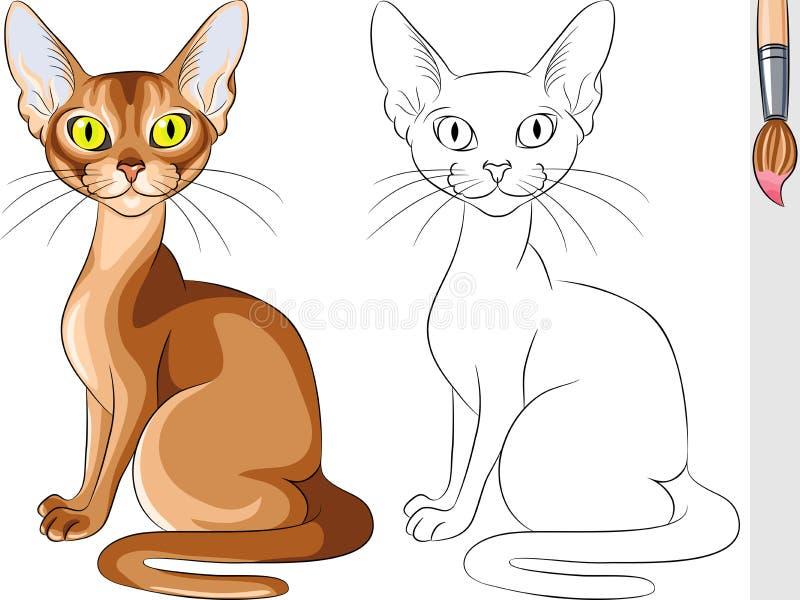 Livro para colorir do Abyssinian vermelho do gato ilustração stock
