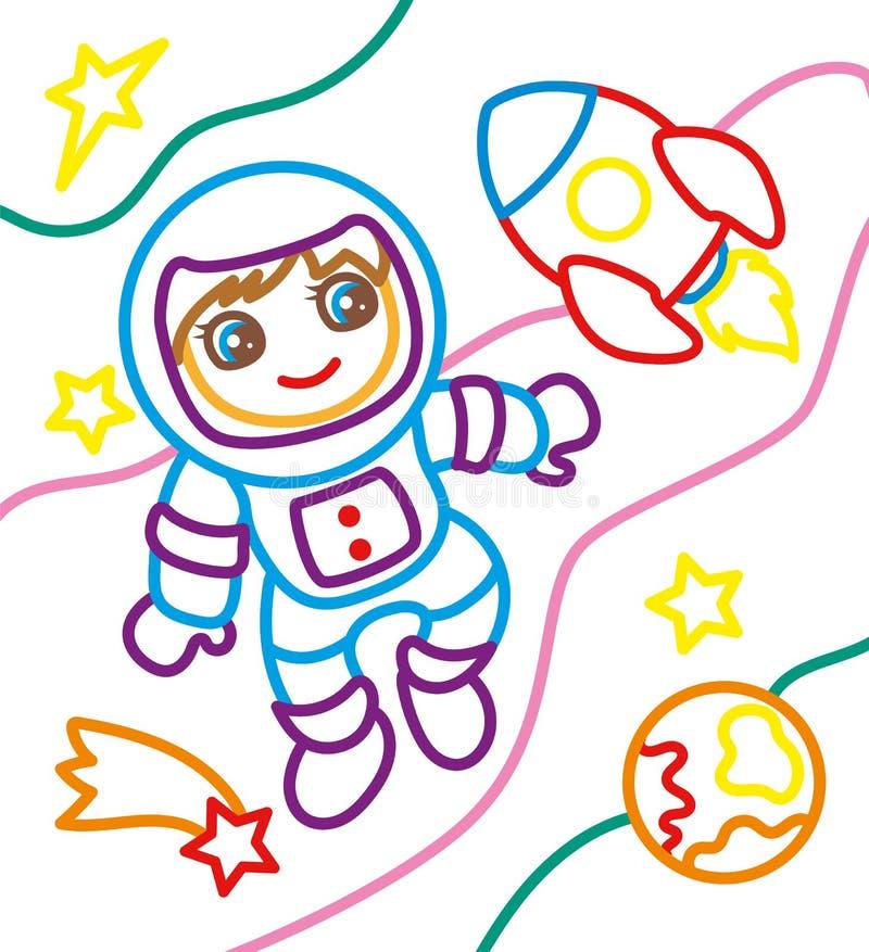 Livro para colorir do astronauta And Rocket ilustração do vetor