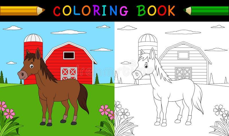 Livro para colorir do cavalo dos desenhos animados ilustração stock