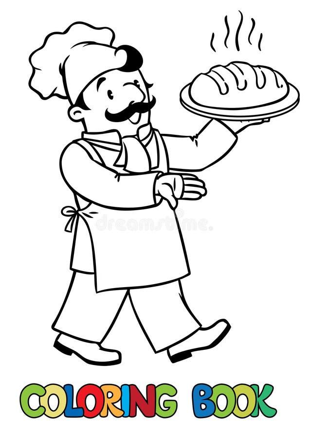 Livro para colorir do cozinheiro ou do padeiro engraçado com pão ilustração royalty free