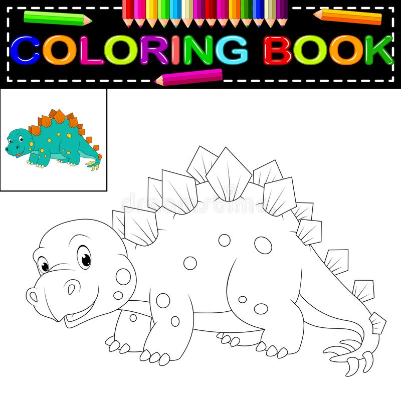 Livro para colorir do dinossauro ilustração stock