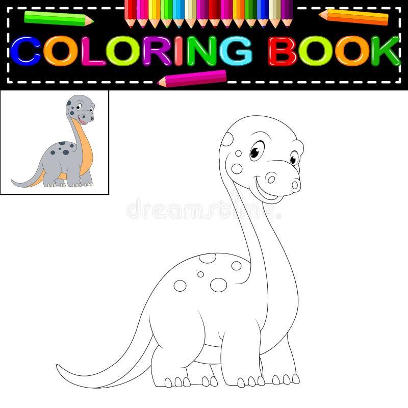 Livro para colorir do dinossauro ilustração royalty free