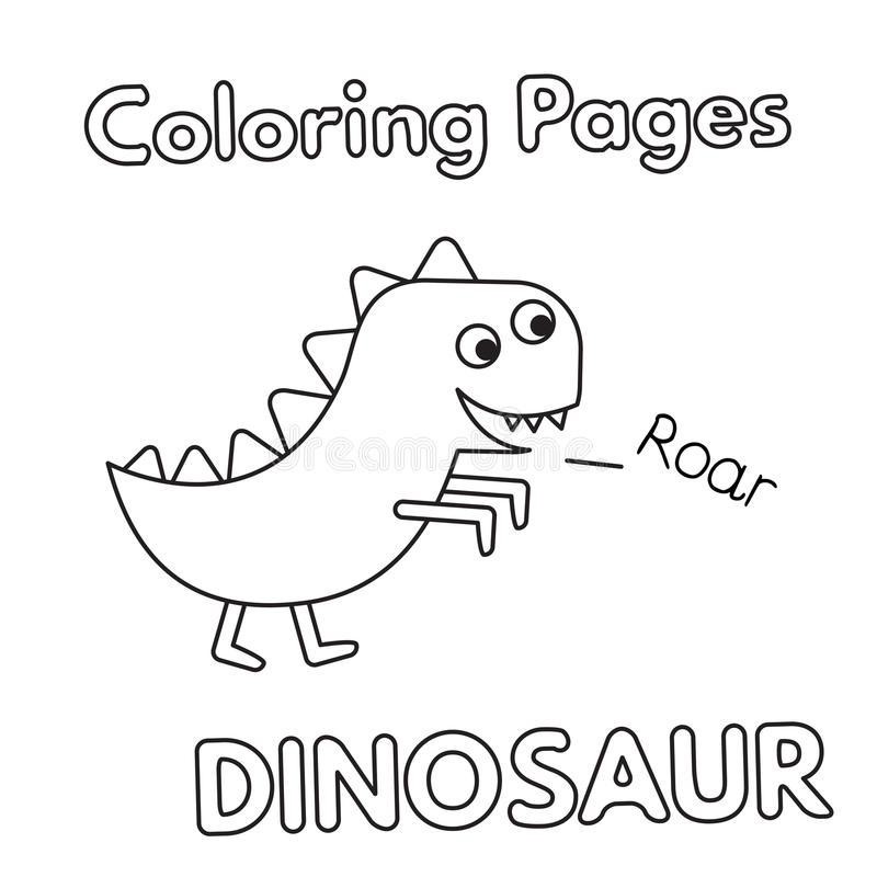 Livro para colorir do dinossauro dos desenhos animados ilustração royalty free