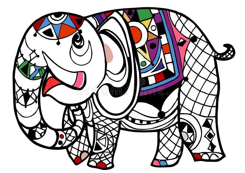Livro para colorir do elefante ilustração stock