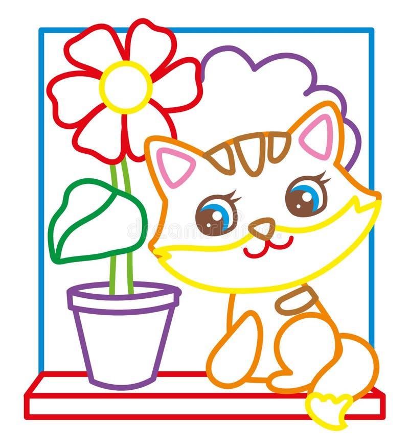 Livro para colorir do gatinho bonito ilustração stock