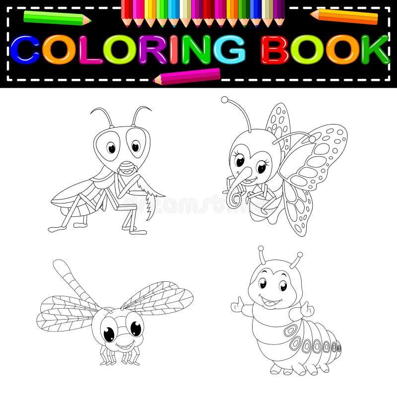 Livro para colorir do inseto ilustração stock