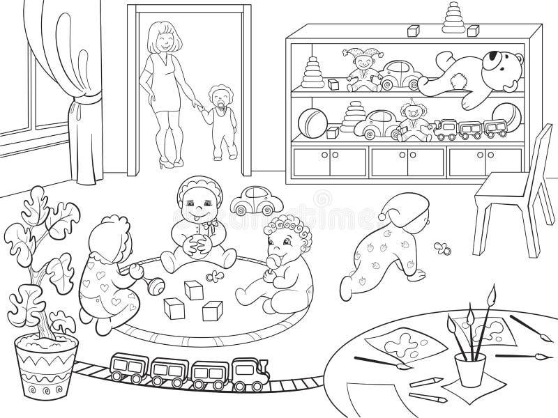 Desenho De Biblioteca Para Colorir: Livro Para Colorir Do Jardim De Infância Para A Ilustração