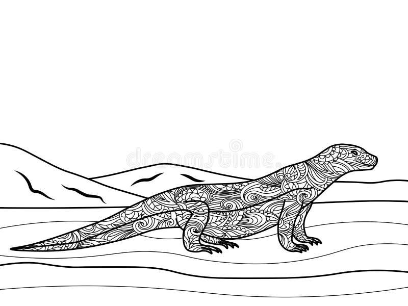 Livro para colorir do lagarto de monitor para o vetor dos adultos ilustração royalty free
