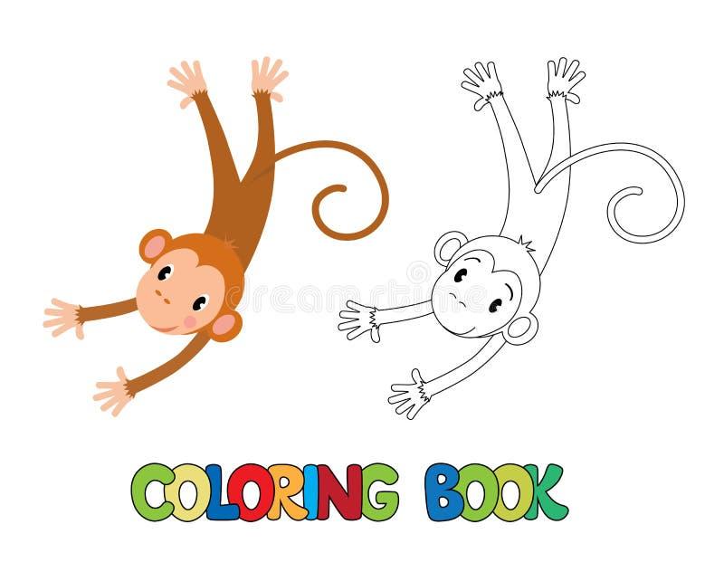 Livro Para Colorir Do Macaco Engraçado Ilustração Do Vetor