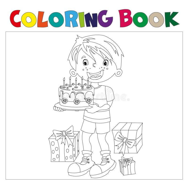 Livro para colorir do menino dos desenhos animados com o bolo presentes no feriado ilustração do vetor
