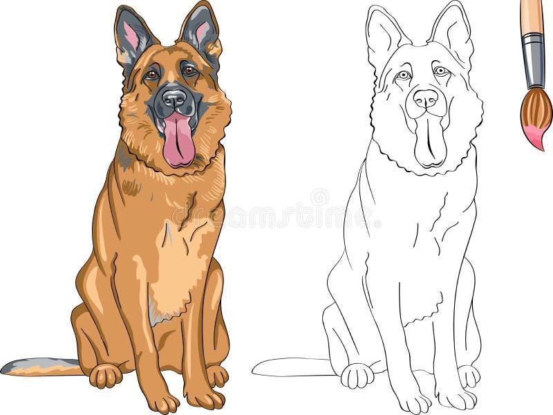 Livro para colorir do pastor alemão de sorriso do cão ilustração royalty free
