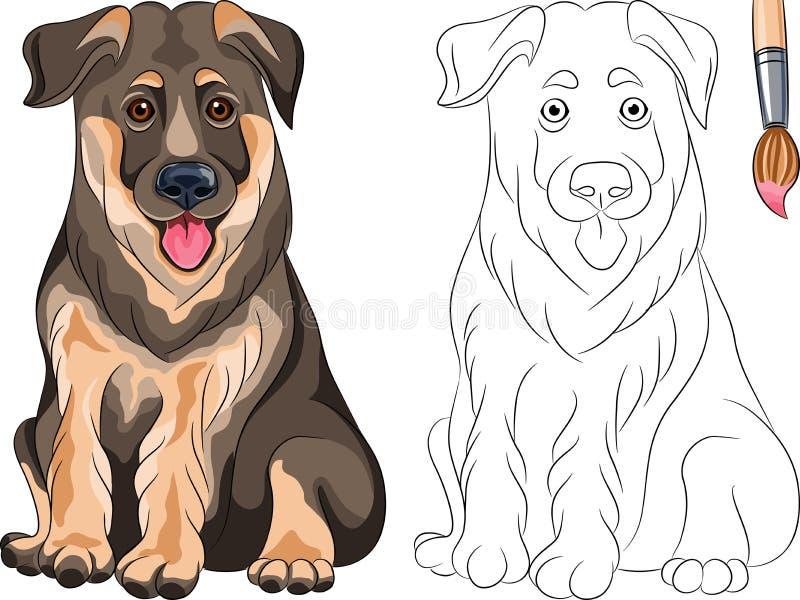 Livro para colorir do pastor do filhote de cachorro ilustração do vetor