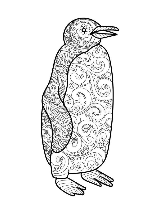 Livro para colorir do pinguim para o vetor dos adultos ilustração stock