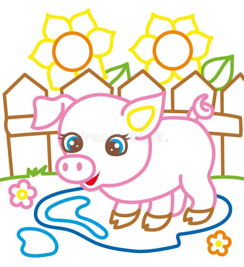 Livro para colorir do porco perto dos girassóis ilustração royalty free