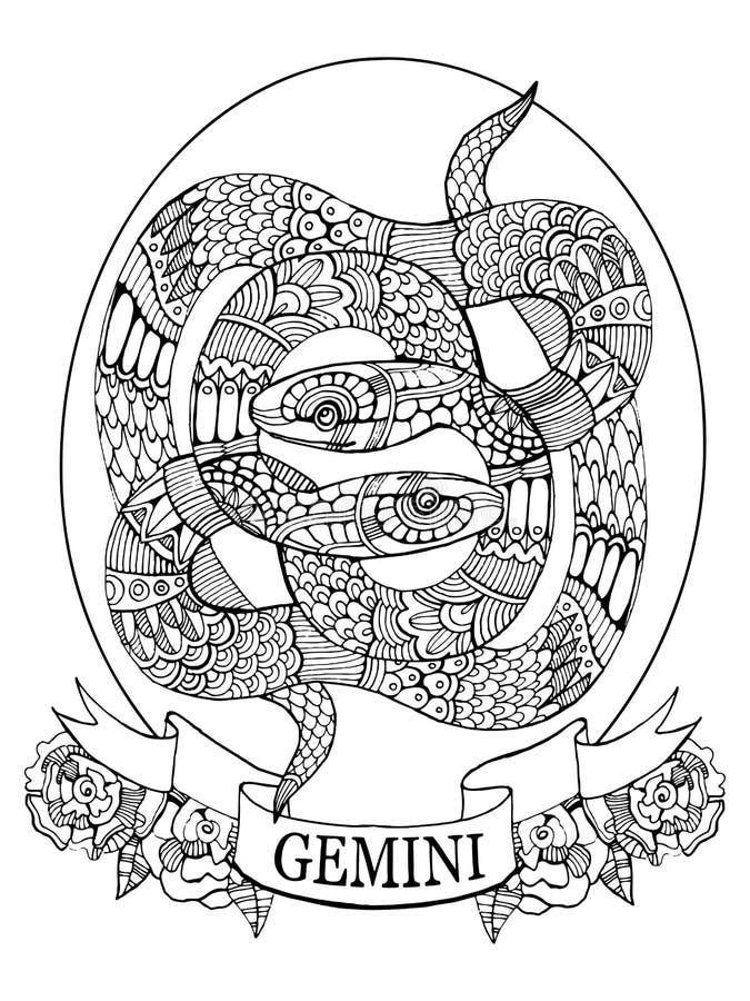 Livro para colorir do sinal do zodíaco dos Gêmeos para o vetor dos adultos ilustração stock