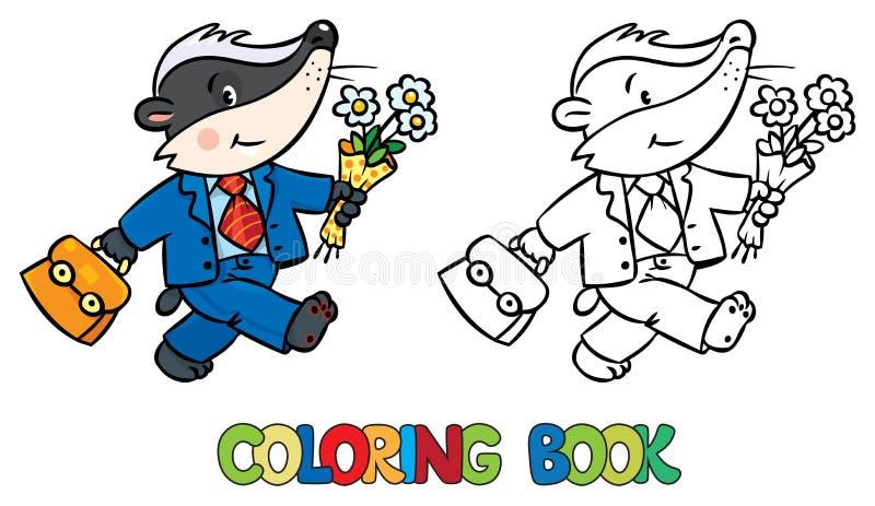 Livro para colorir do texugo engraçado pequeno ilustração royalty free