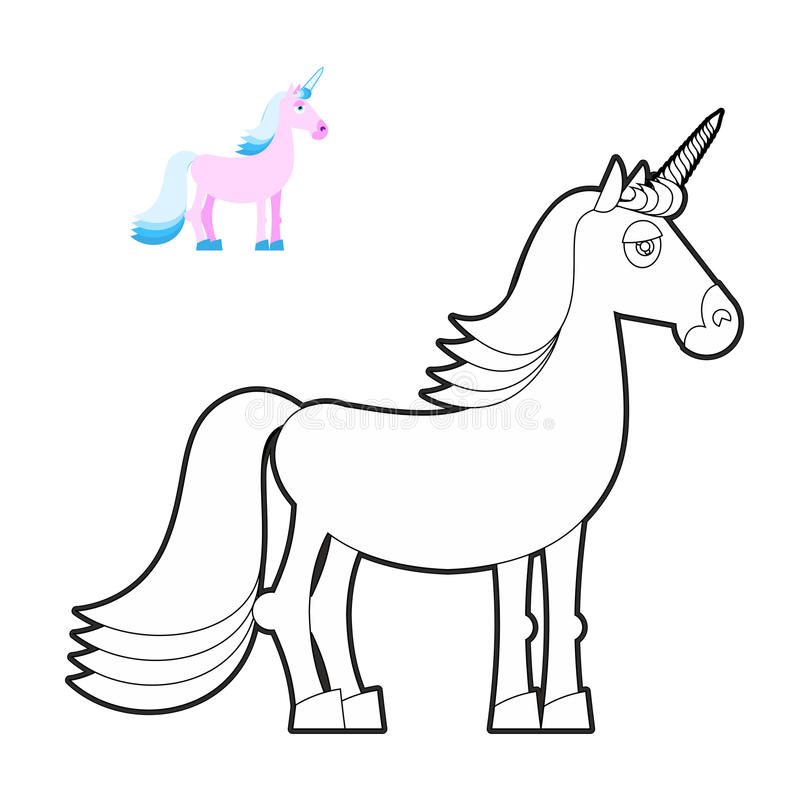 Livro para colorir do unicórnio Animal fantástico no estilo linear Fabulou ilustração royalty free