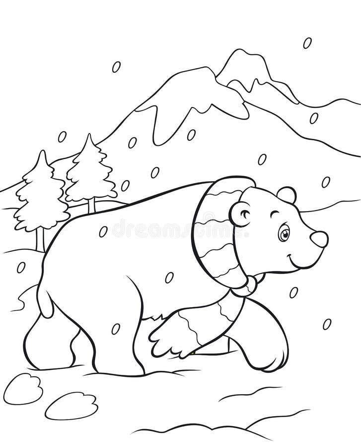 Livro para colorir do urso polar ilustração stock
