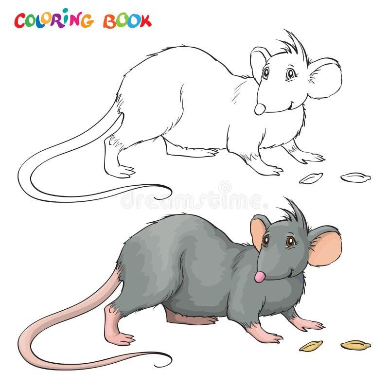 Livro para colorir do vetor para crianças com rato ilustração royalty free