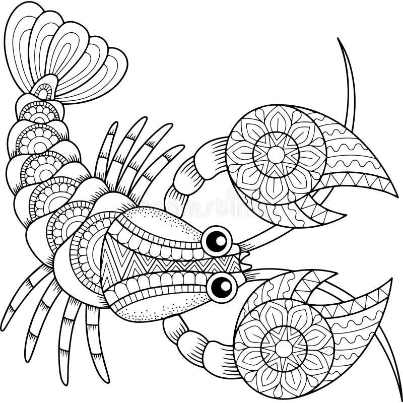Livro para colorir do vetor para o adulto Silhueta do câncer isolada no fundo branco Cancro do sinal do zodíaco abstraia o fundo  ilustração do vetor