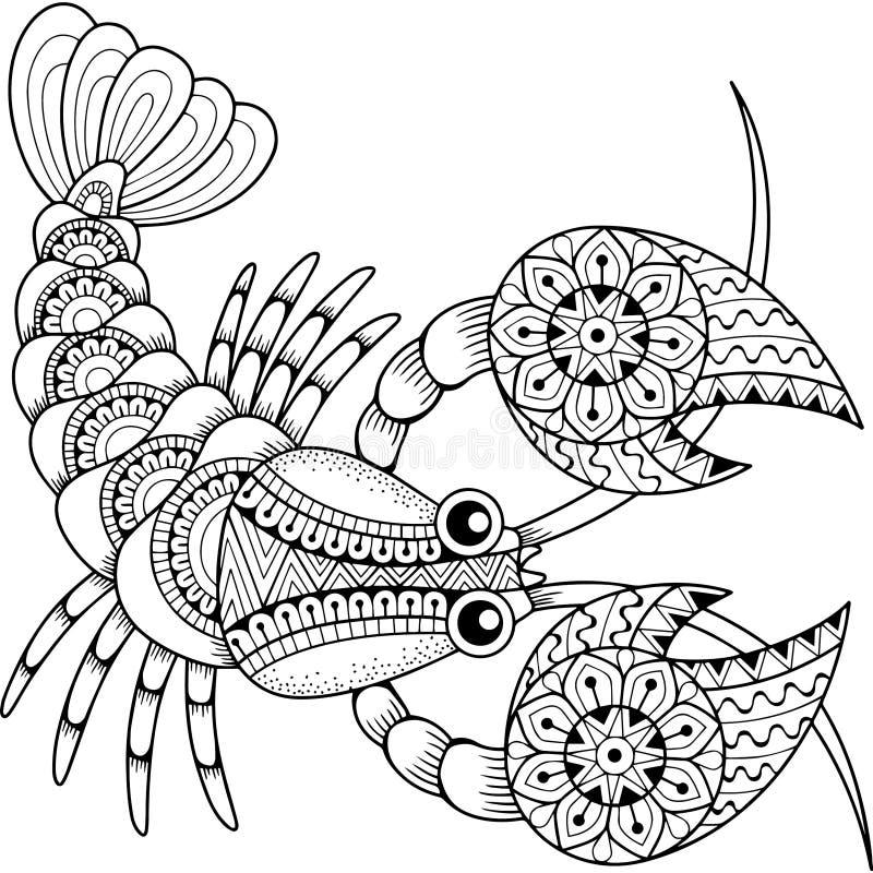 Livro para colorir do vetor para o adulto Silhueta do câncer isolada no fundo branco Cancro do sinal do zodíaco abstraia o fundo  ilustração stock