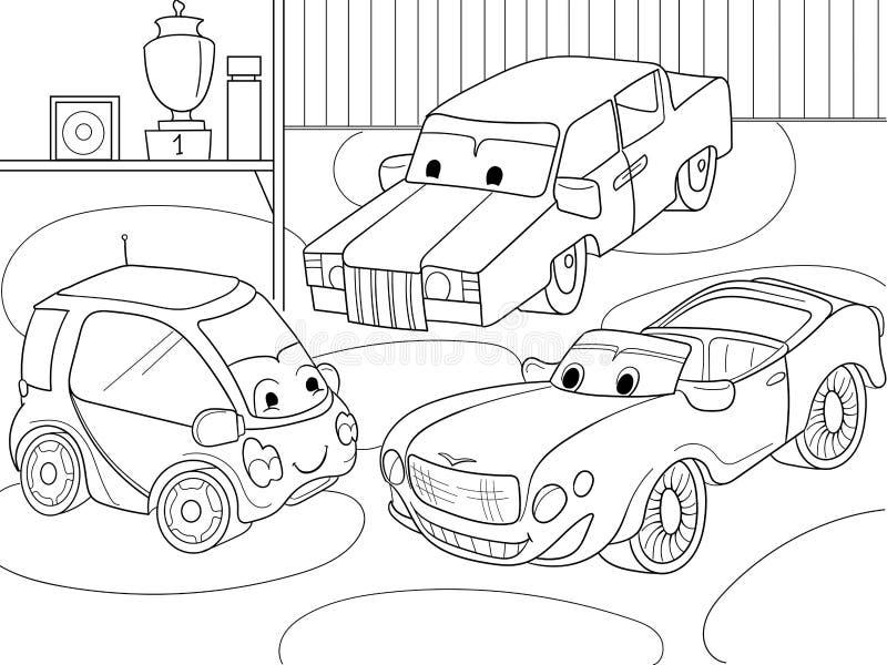 Livro para colorir dos desenhos animados das crianças para meninos Vector a ilustração de uma garagem com carros vivos ilustração royalty free