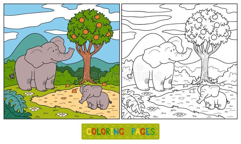 Livro para colorir (elefante) ilustração royalty free