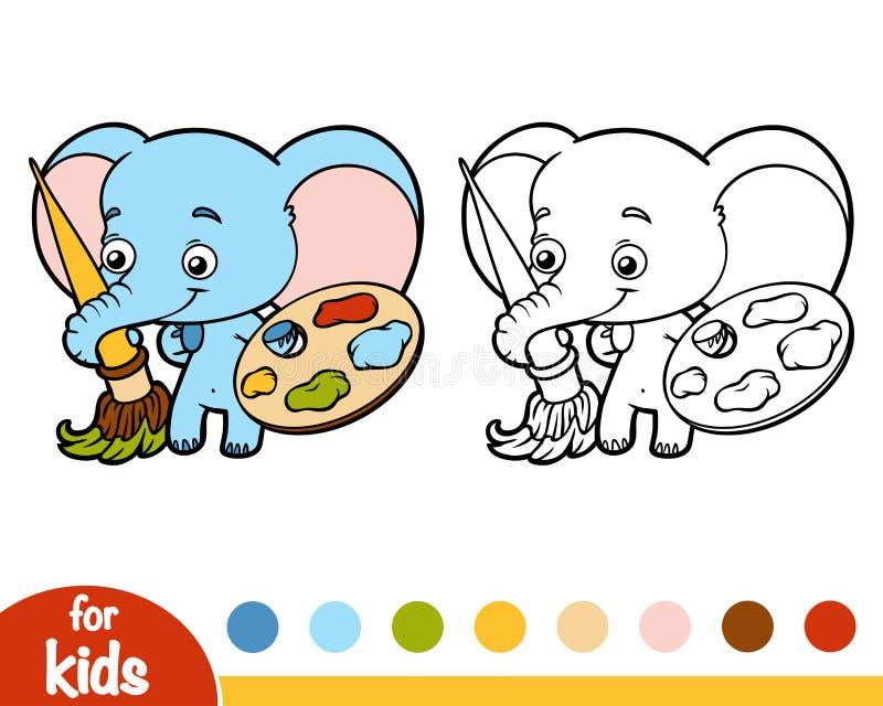 Livro para colorir, elefante com pinturas e uma escova ilustração stock