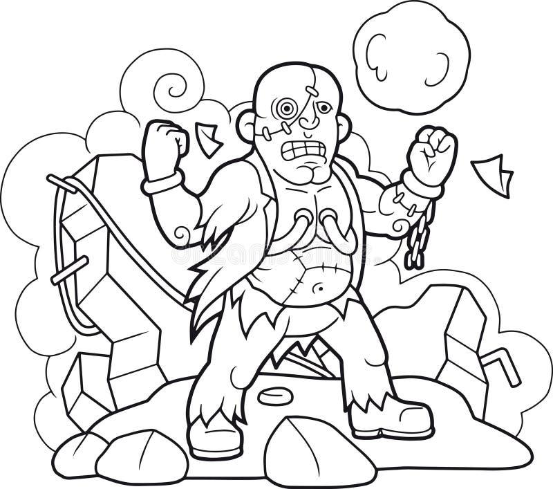 Livro Para Colorir Engracado Do Frankenstein Ilustracao Do Vetor