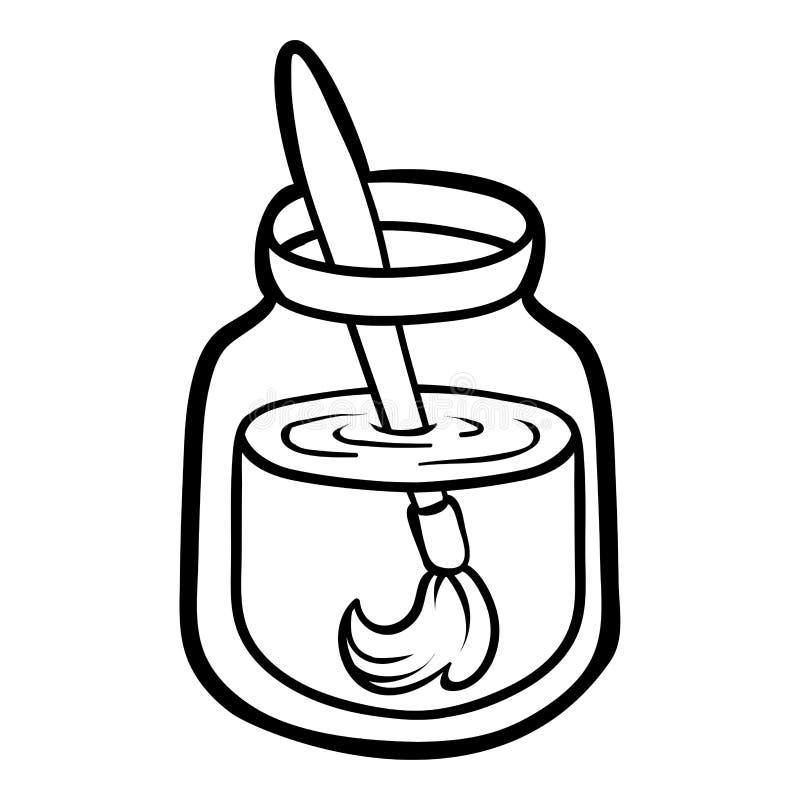 Livro para colorir, escova de pintura em um frasco ilustração stock