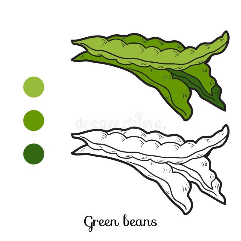 Livro para colorir: frutas e legumes (feijões verdes) ilustração stock