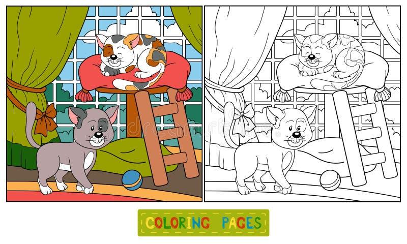 Livro para colorir (gatos) ilustração royalty free