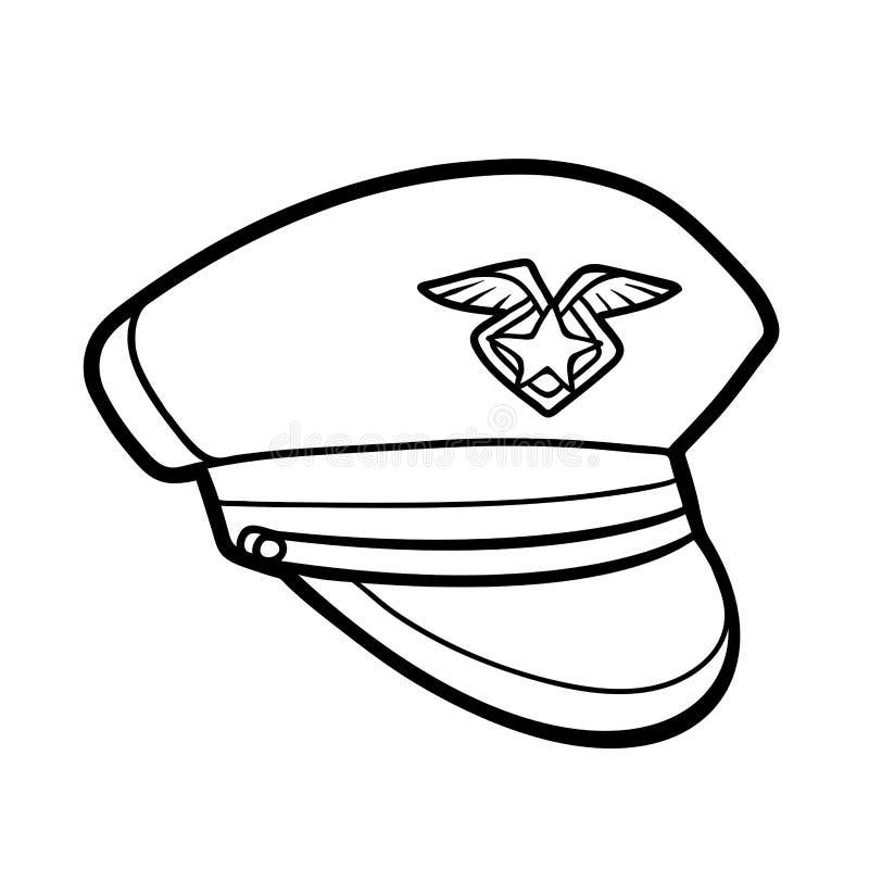 Livro para colorir, headwear dos desenhos animados, chapéu da polícia ilustração stock