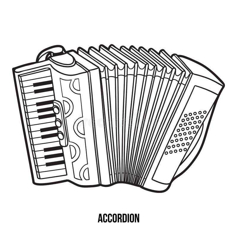 Livro para colorir: instrumentos musicais (acordeão) ilustração do vetor