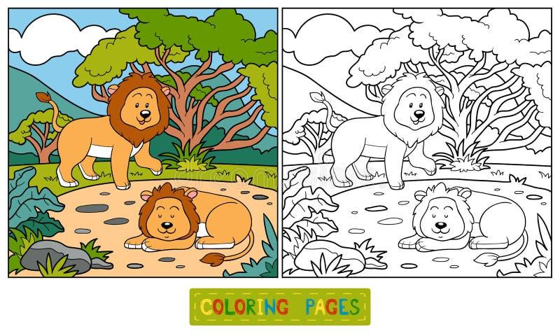 Livro para colorir (leões) ilustração royalty free