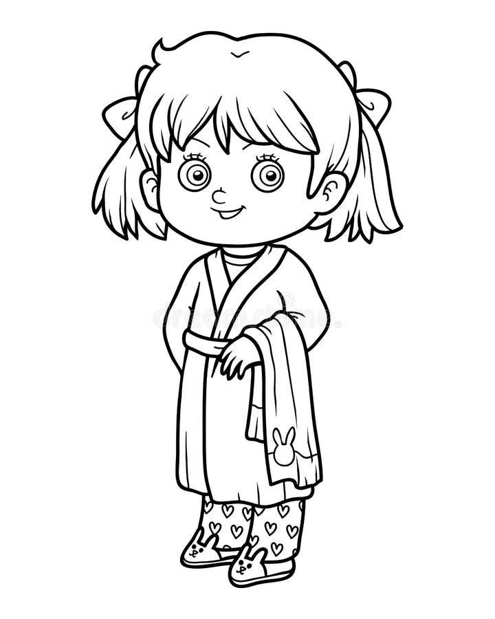 Livro para colorir, menina em um roupão ilustração stock