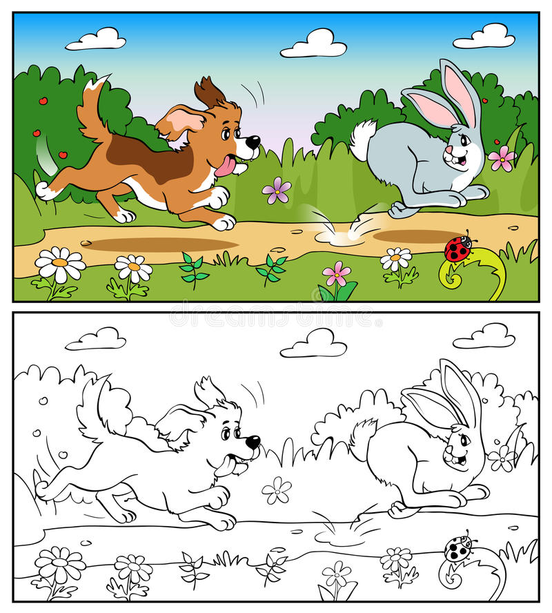Livro para colorir ou página Cão no prado que persegue um coelho ilustração do vetor